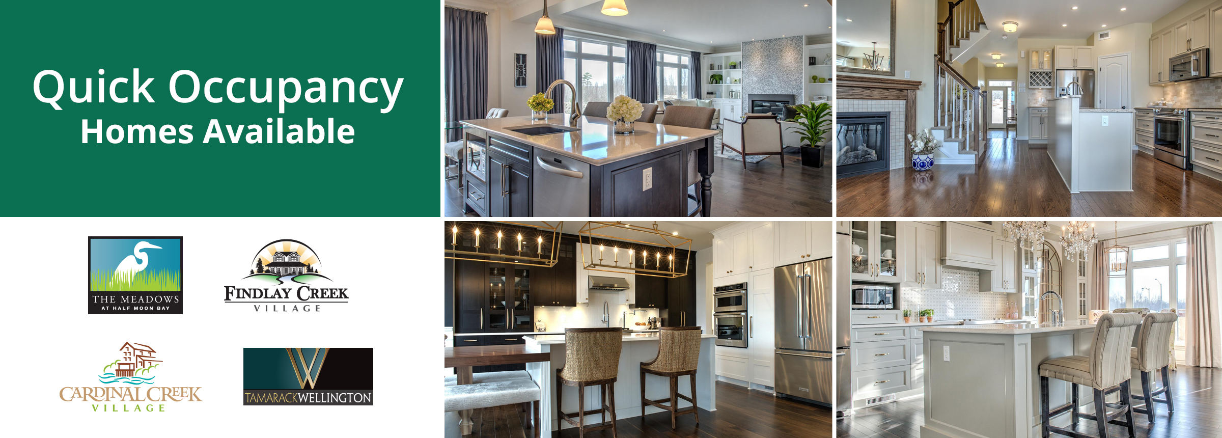 Quick Occupancy Homes Available: 4 examples of beautifully done Kitchens