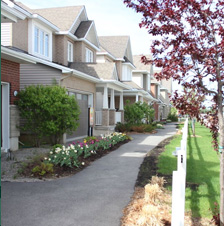 Walkign path in front of houses with nice greenery